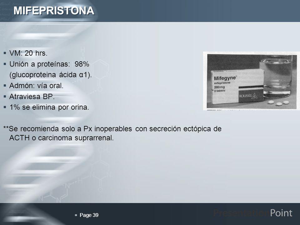 MIFEPRISTONA VM: 20 hrs. Unión a proteínas: 98%