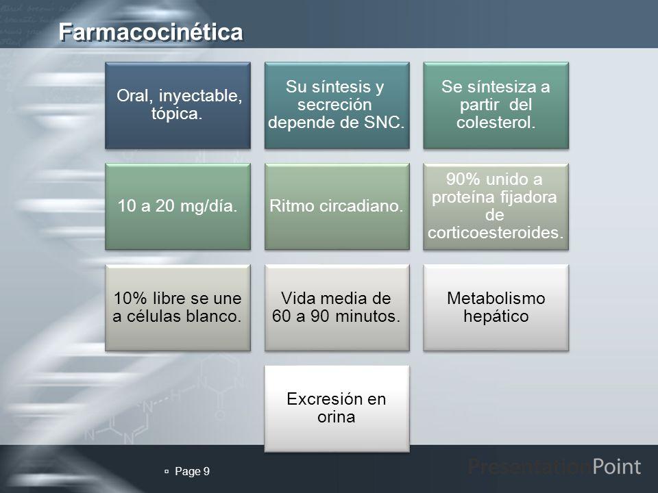 Farmacocinética  Page 9 9 Oral, inyectable, tópica.