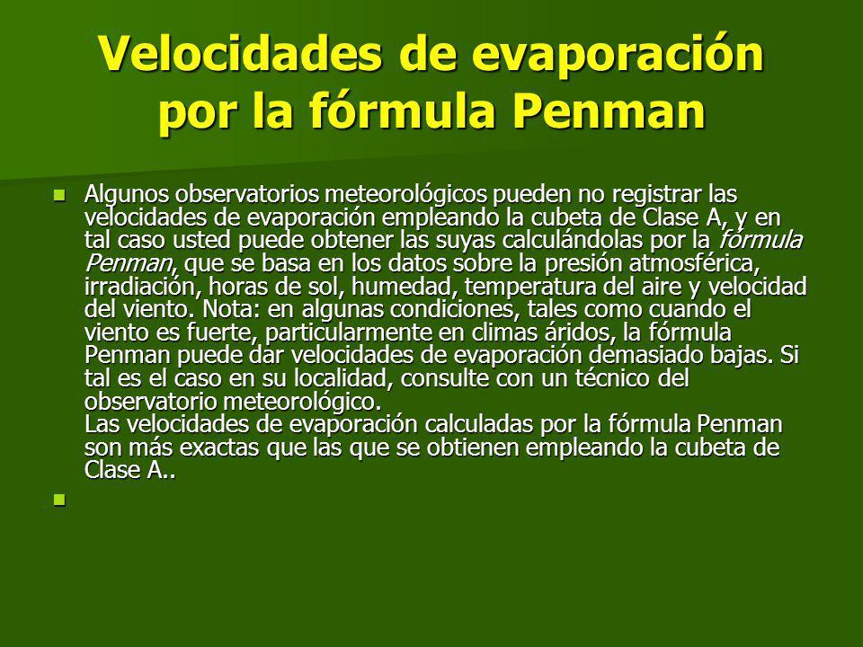 Velocidades de evaporación por la fórmula Penman