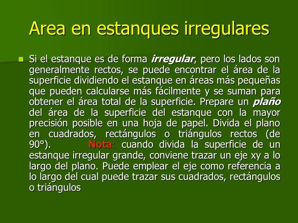 Area en estanques irregulares