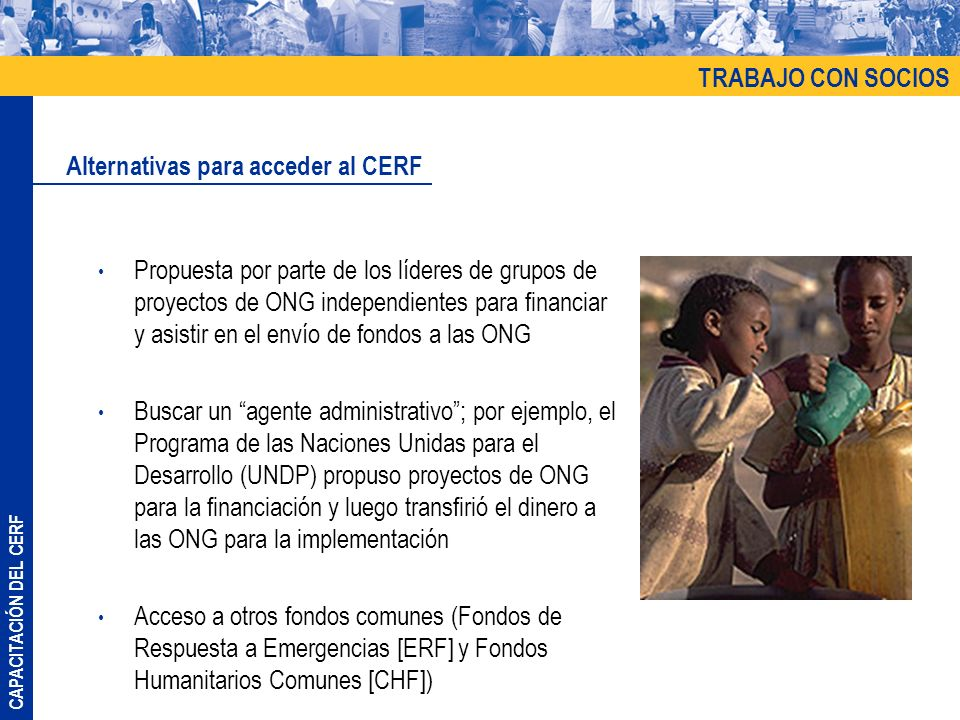 TRABAJO CON SOCIOS Alternativas para acceder al CERF.
