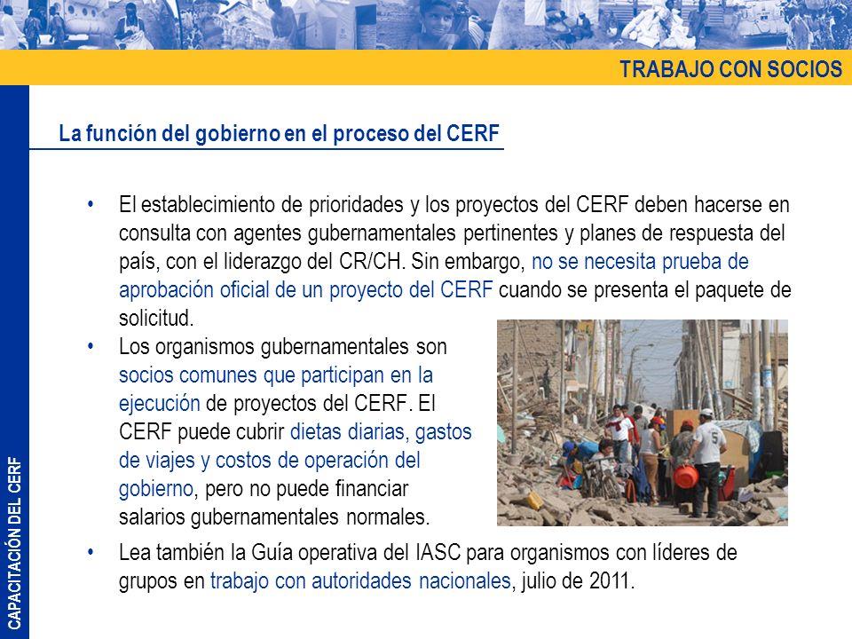 TRABAJO CON SOCIOS La función del gobierno en el proceso del CERF.