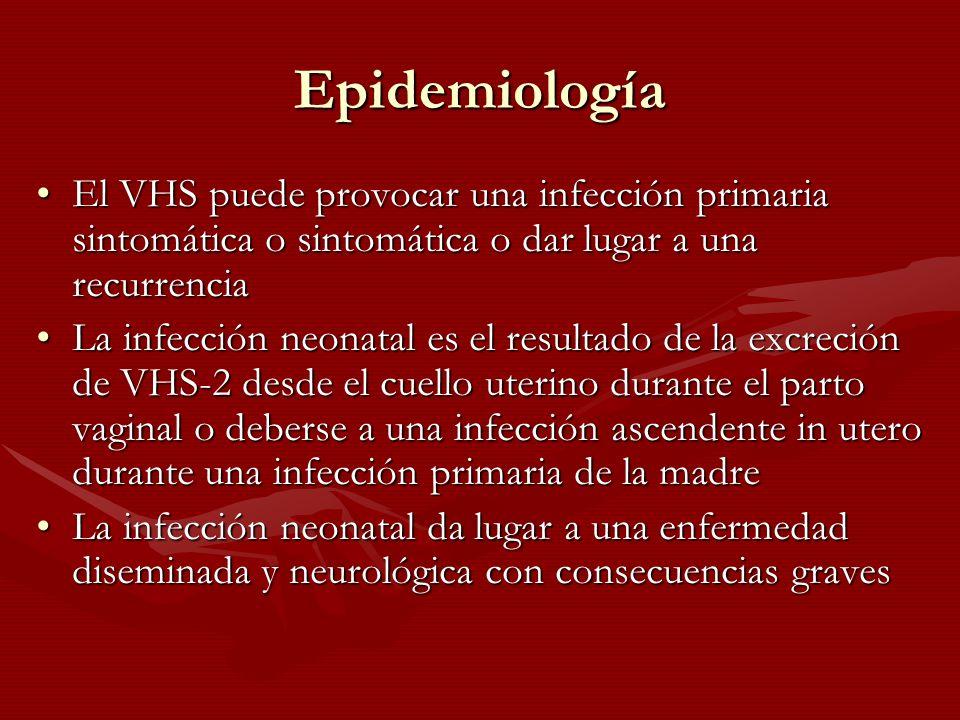 Epidemiología El VHS puede provocar una infección primaria sintomática o sintomática o dar lugar a una recurrencia.