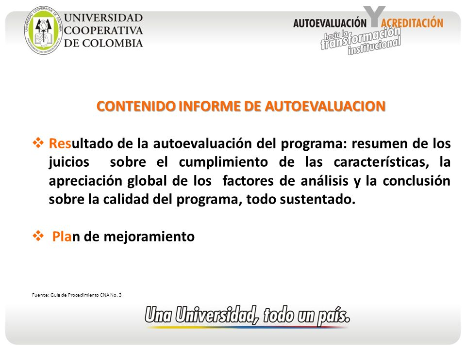 CONTENIDO INFORME DE AUTOEVALUACION