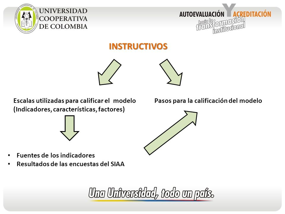 INSTRUCTIVOS Escalas utilizadas para calificar el modelo