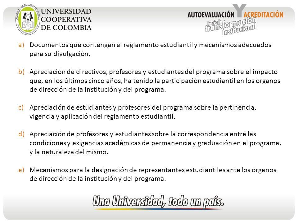 Documentos que contengan el reglamento estudiantil y mecanismos adecuados para su divulgación.