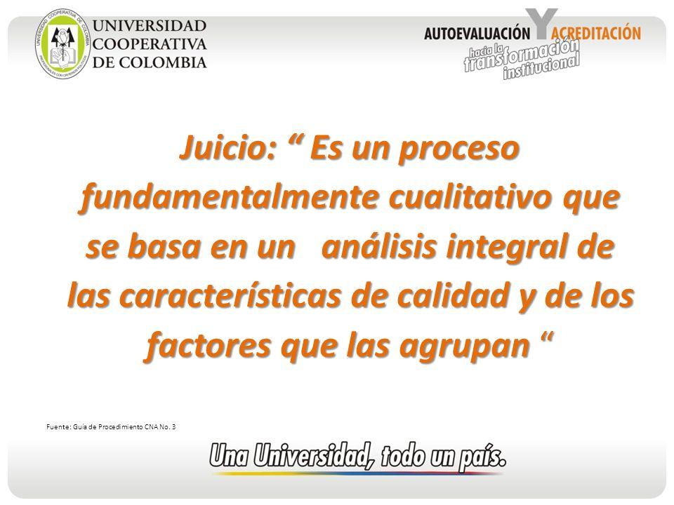 Juicio: Es un proceso fundamentalmente cualitativo que se basa en un análisis integral de las características de calidad y de los factores que las agrupan