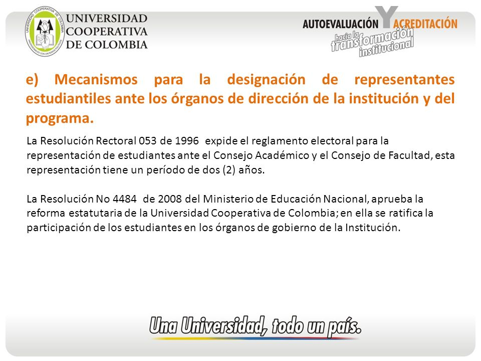 e) Mecanismos para la designación de representantes estudiantiles ante los órganos de dirección de la institución y del programa.