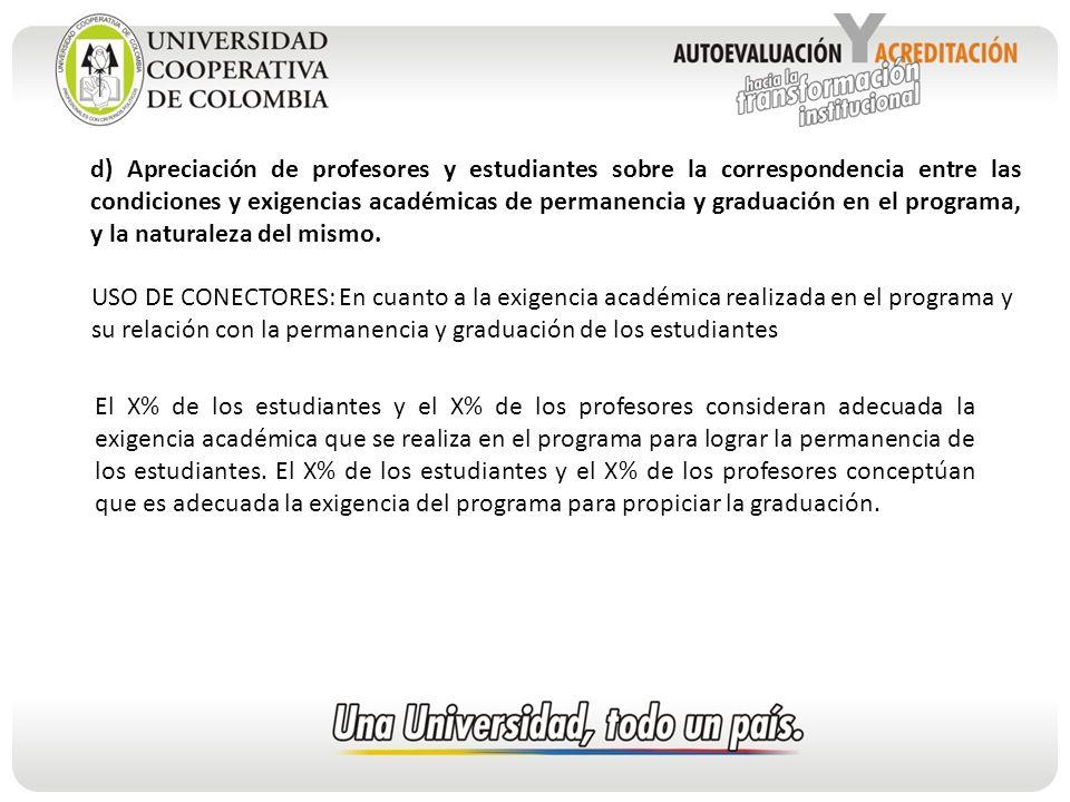 d) Apreciación de profesores y estudiantes sobre la correspondencia entre las condiciones y exigencias académicas de permanencia y graduación en el programa, y la naturaleza del mismo.