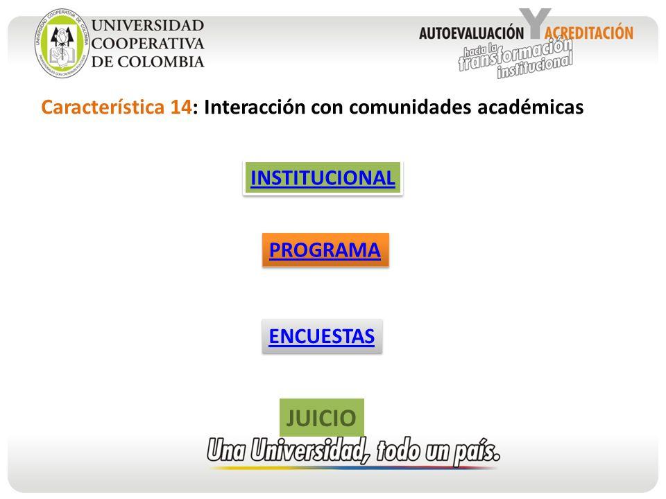 JUICIO Característica 14: Interacción con comunidades académicas