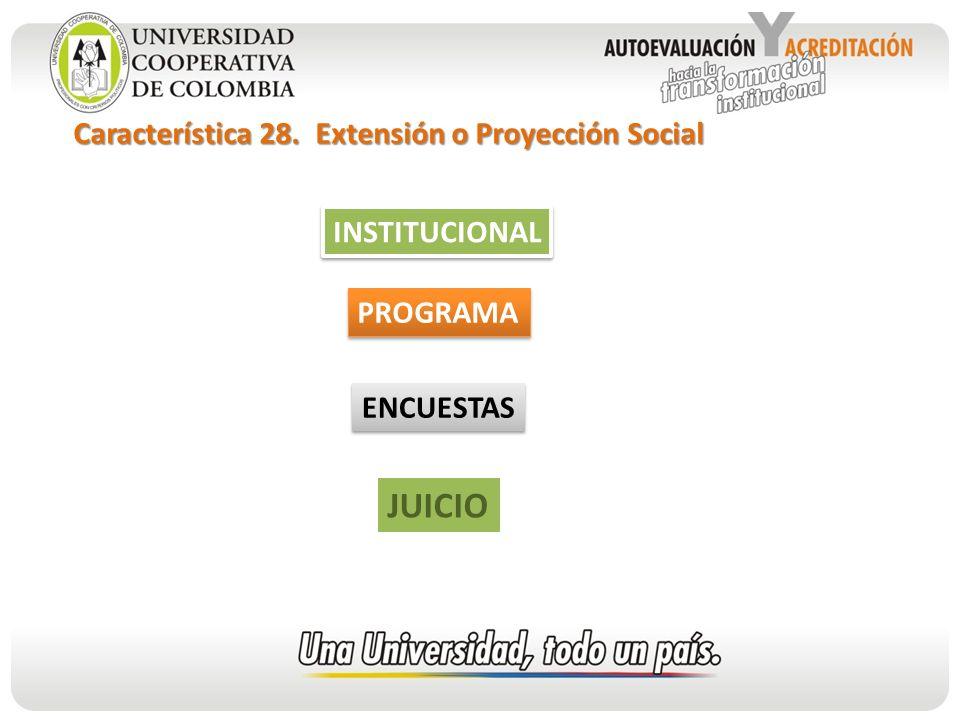 JUICIO Característica 28. Extensión o Proyección Social INSTITUCIONAL