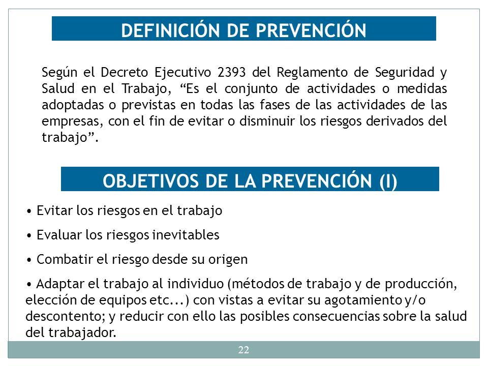 DEFINICIÓN DE PREVENCIÓN OBJETIVOS DE LA PREVENCIÓN (I)