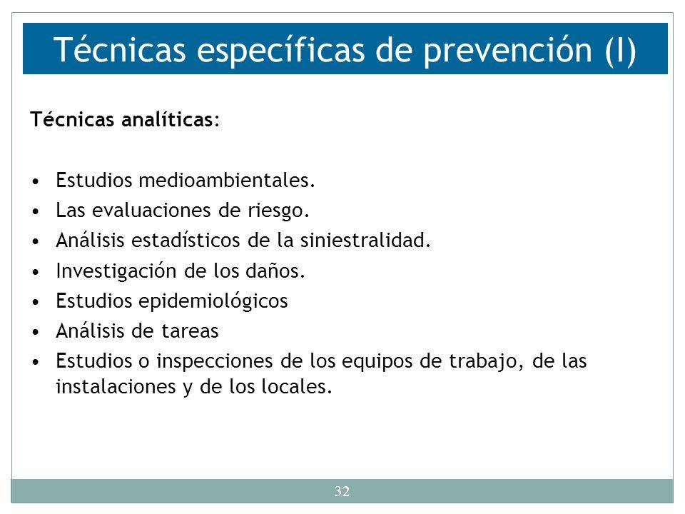 Técnicas específicas de prevención (I)