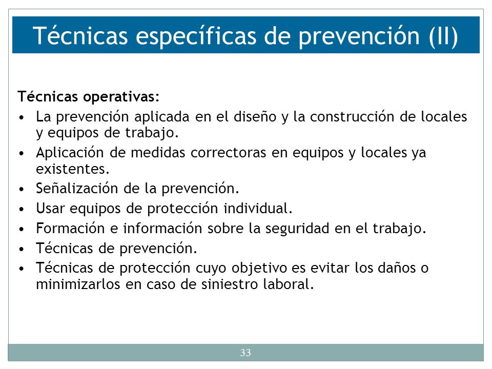 Técnicas específicas de prevención (II)