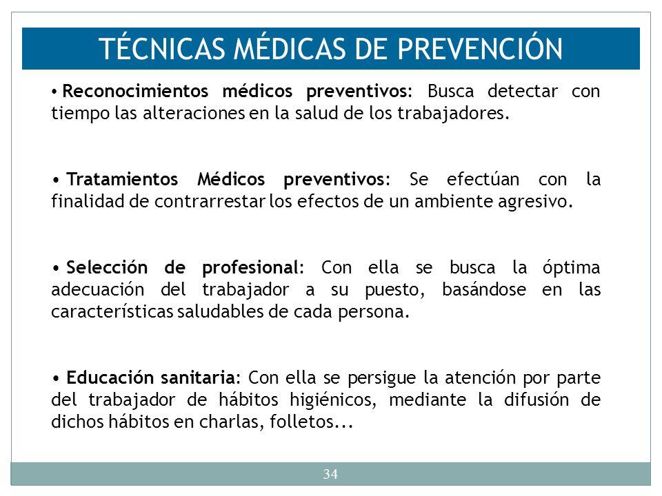 TÉCNICAS MÉDICAS DE PREVENCIÓN