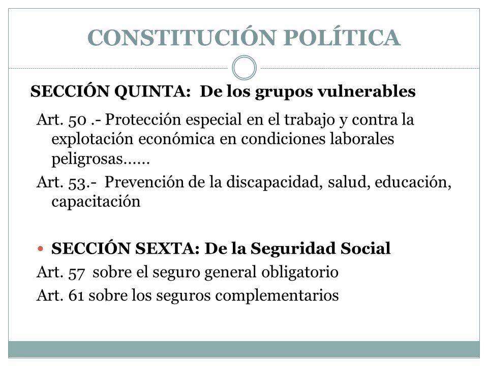 SECCIÓN QUINTA: De los grupos vulnerables
