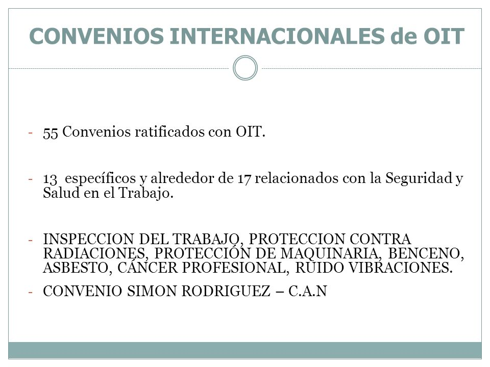CONVENIOS INTERNACIONALES de OIT