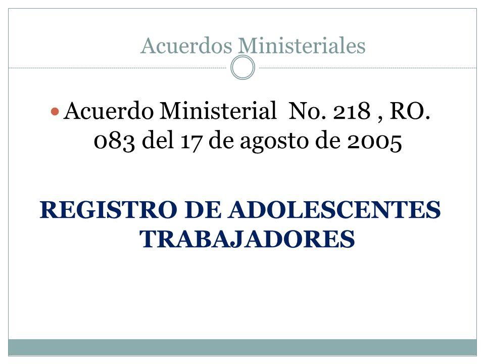 REGISTRO DE ADOLESCENTES TRABAJADORES