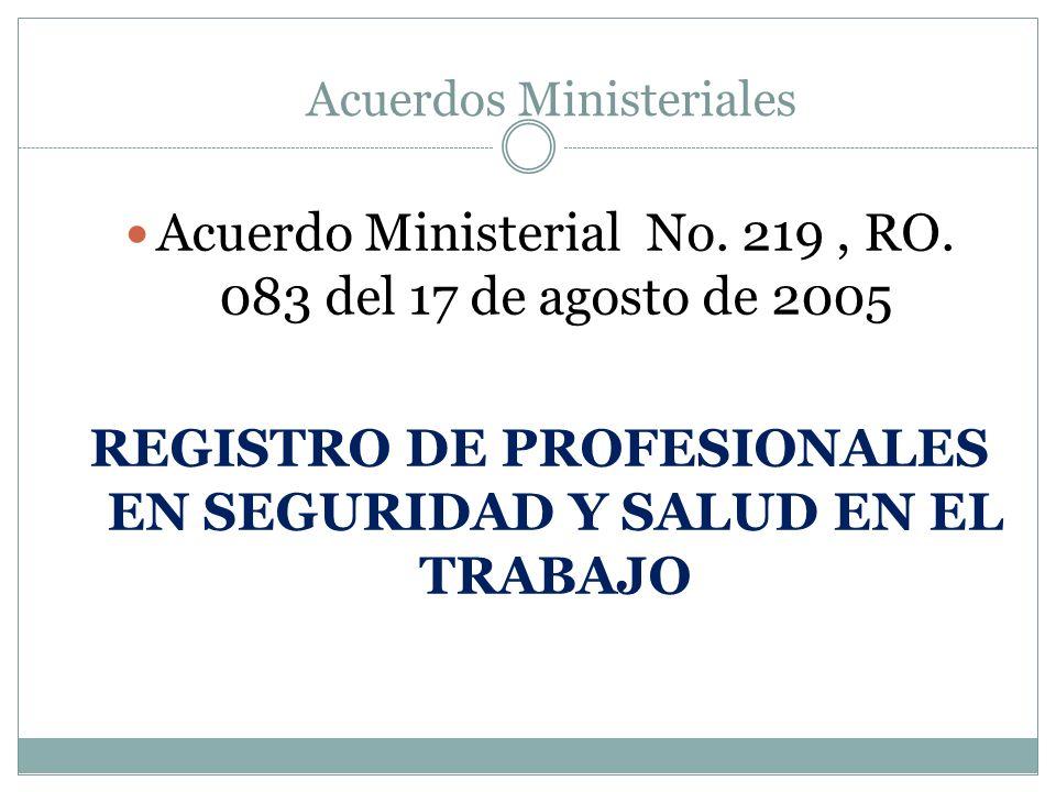 REGISTRO DE PROFESIONALES EN SEGURIDAD Y SALUD EN EL TRABAJO