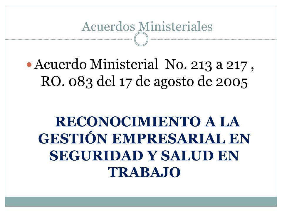 Acuerdo Ministerial No. 213 a 217 , RO. 083 del 17 de agosto de 2005