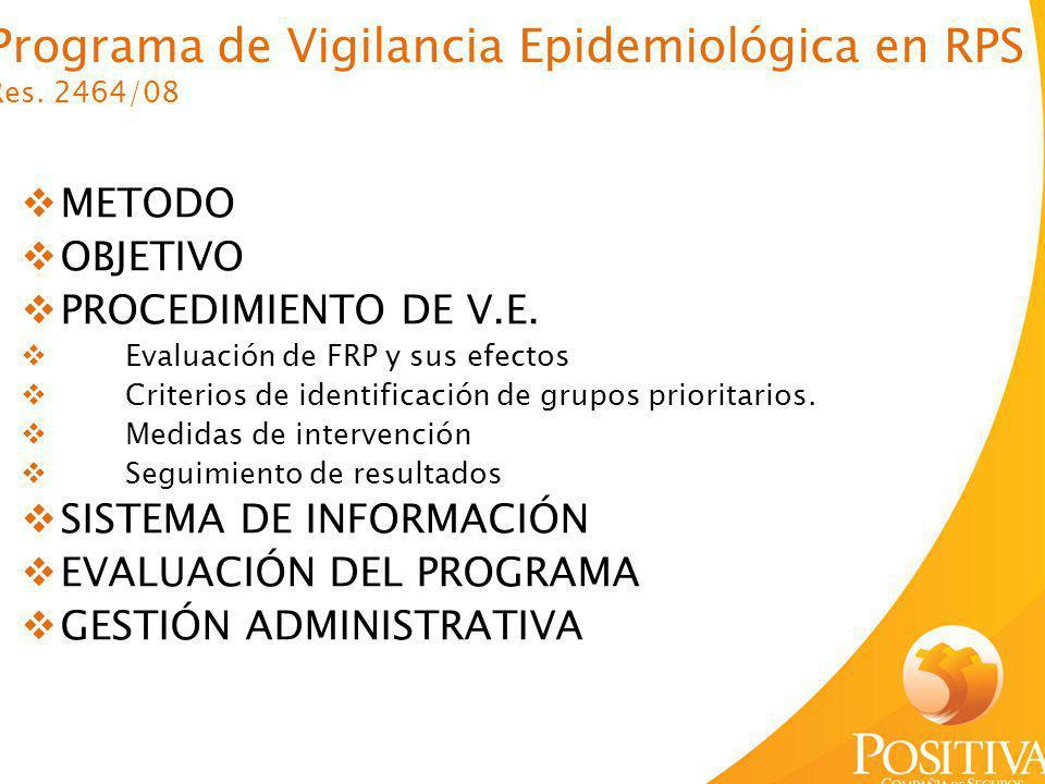 Programa de Vigilancia Epidemiológica en RPS