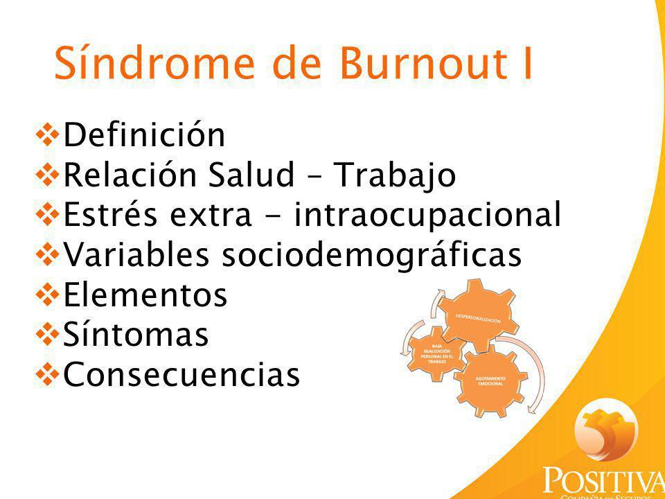 Síndrome de Burnout I Definición Relación Salud – Trabajo