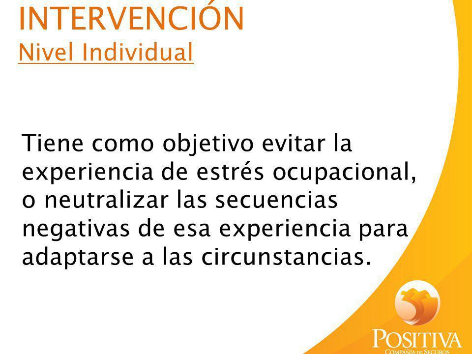 INTERVENCIÓN Nivel Individual