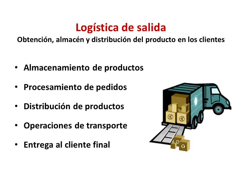 Logística de salida Obtención, almacén y distribución del producto en los clientes