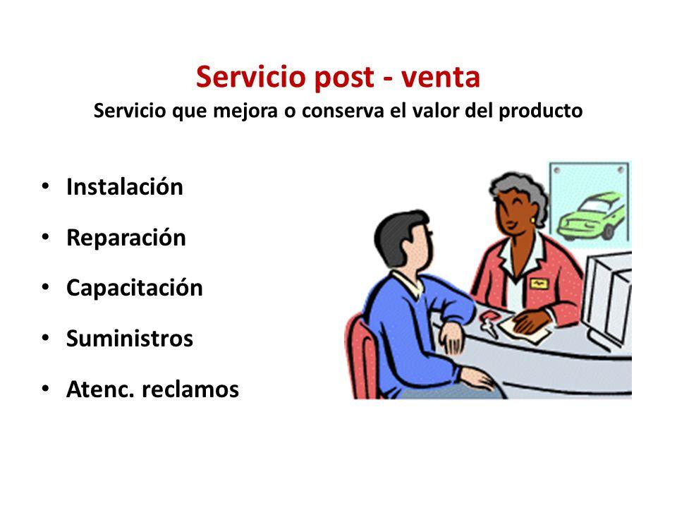 Servicio post - venta Servicio que mejora o conserva el valor del producto