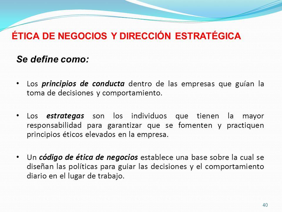 ÉTICA DE NEGOCIOS Y DIRECCIÓN ESTRATÉGICA