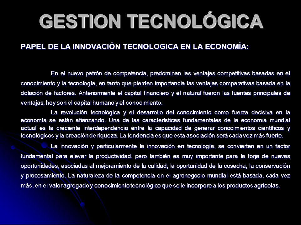 GESTION TECNOLÓGICA PAPEL DE LA INNOVACIÓN TECNOLOGICA EN LA ECONOMÍA: