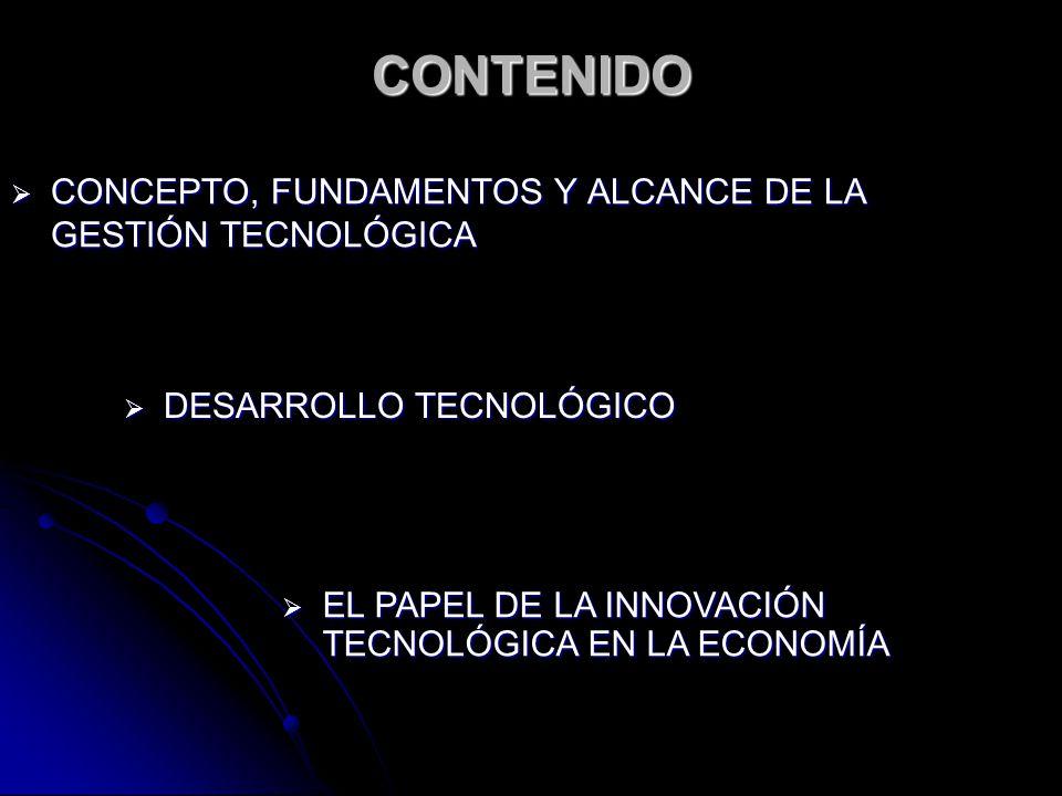 CONTENIDO CONCEPTO, FUNDAMENTOS Y ALCANCE DE LA GESTIÓN TECNOLÓGICA