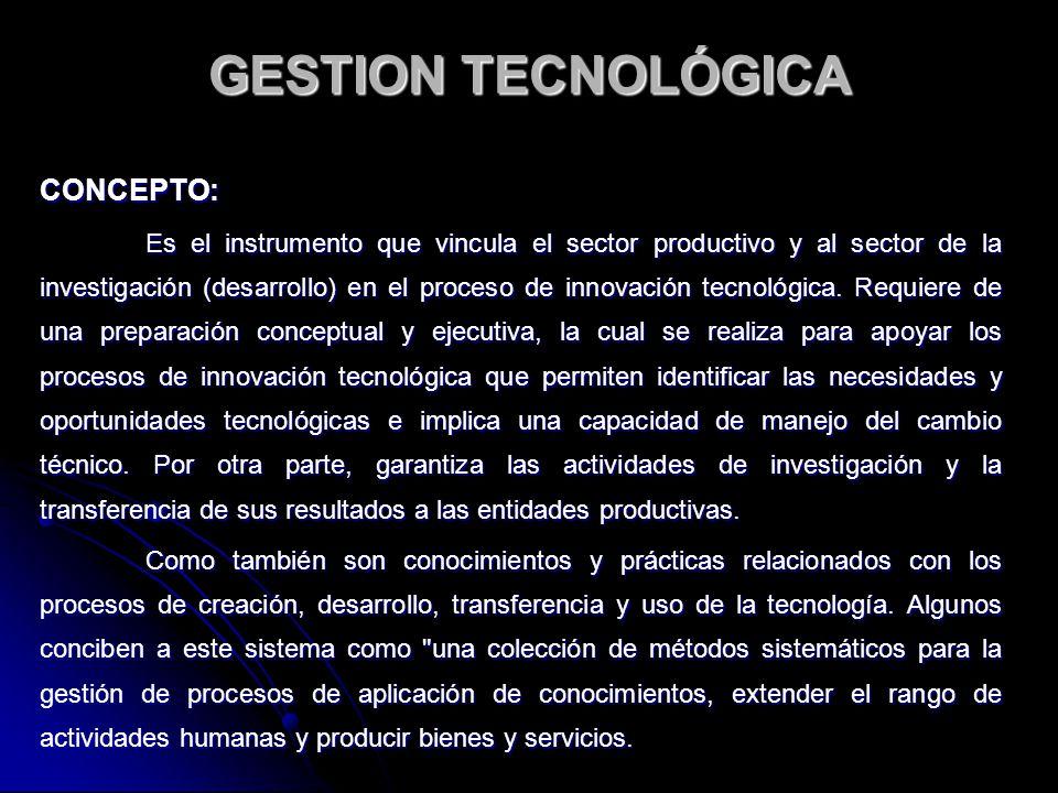 GESTION TECNOLÓGICA CONCEPTO: