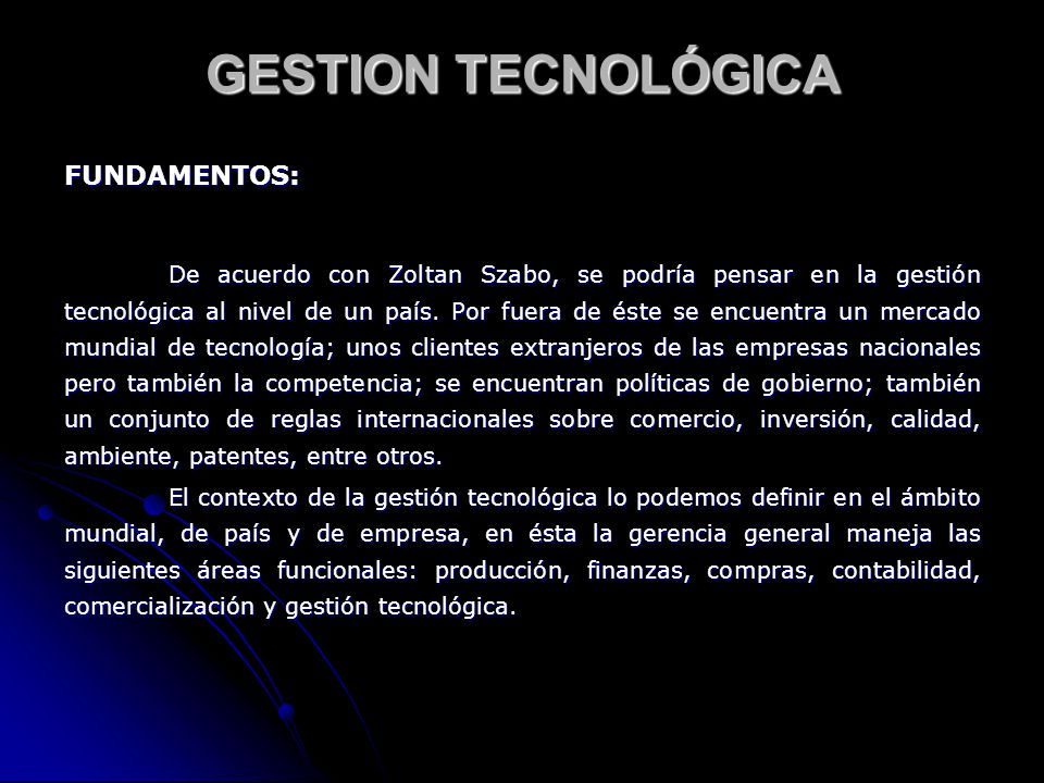 GESTION TECNOLÓGICA FUNDAMENTOS: