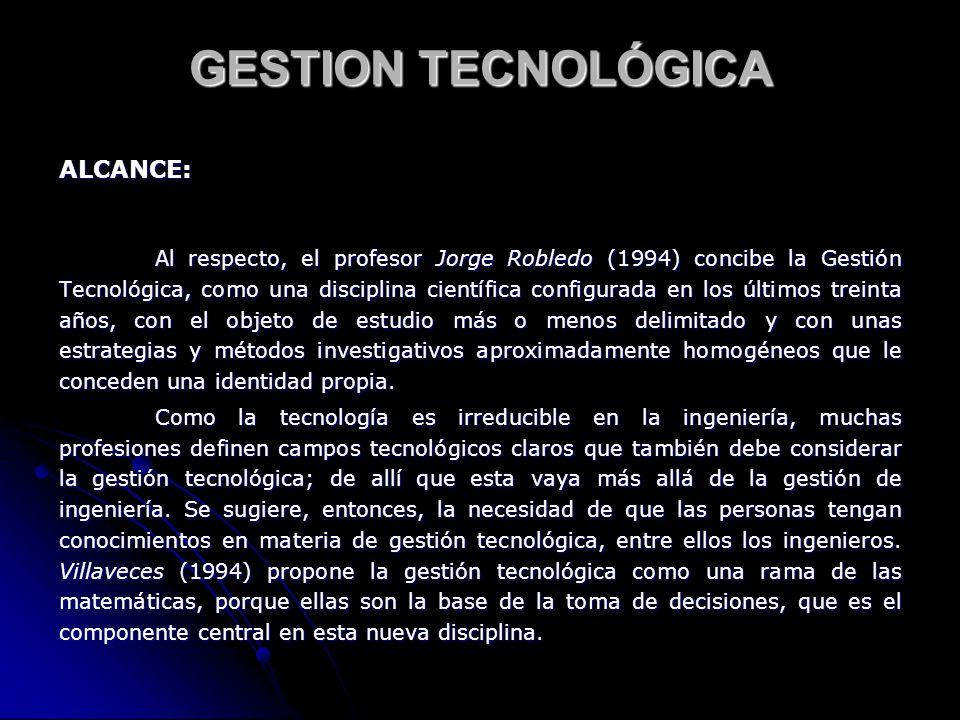 GESTION TECNOLÓGICA ALCANCE: