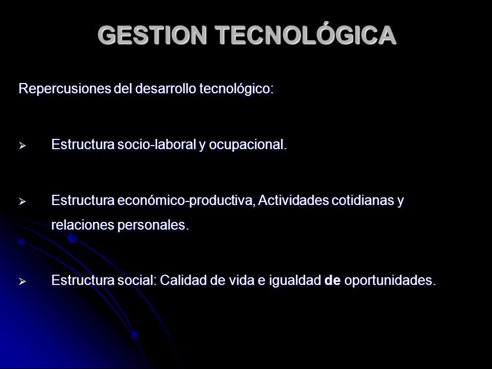 GESTION TECNOLÓGICA Repercusiones del desarrollo tecnológico: