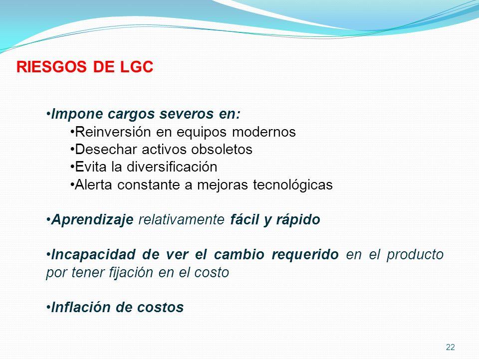 RIESGOS DE LGC Impone cargos severos en: