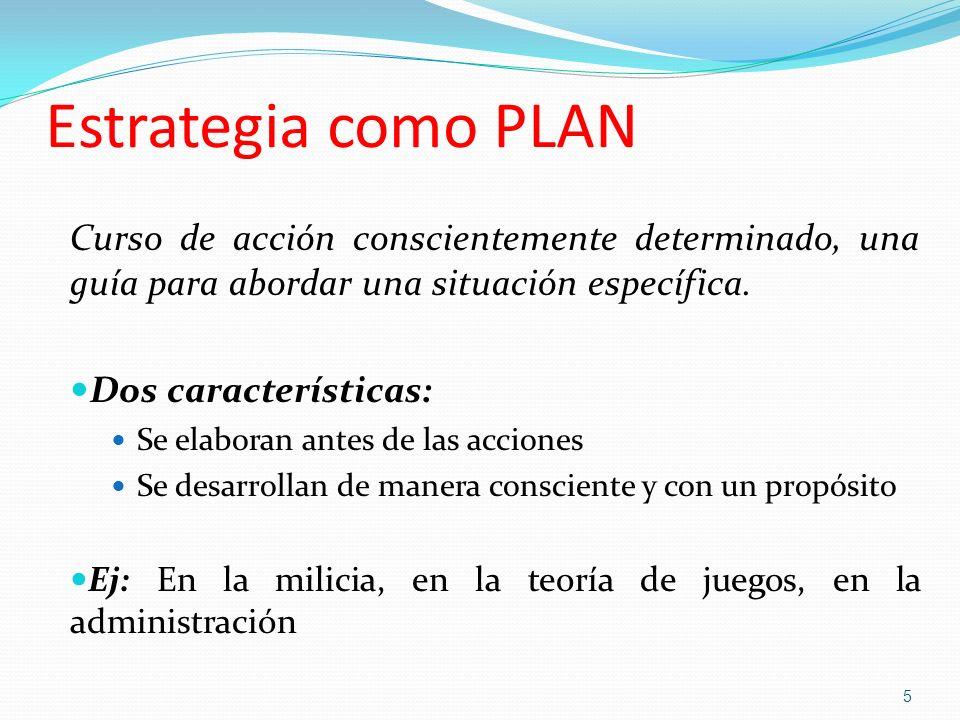 Estrategia como PLANCurso de acción conscientemente determinado, una guía para abordar una situación específica.