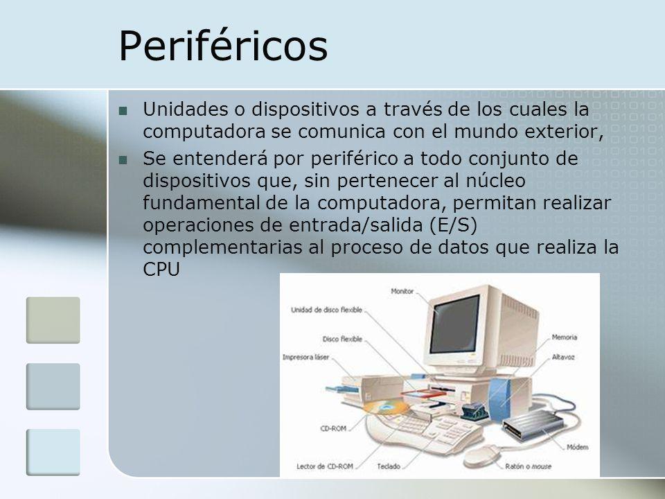 Periféricos Unidades o dispositivos a través de los cuales la computadora se comunica con el mundo exterior,