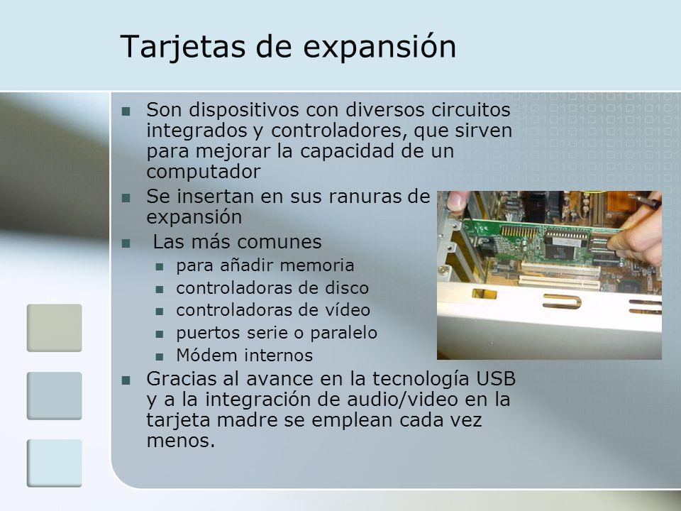 Tarjetas de expansión Son dispositivos con diversos circuitos integrados y controladores, que sirven para mejorar la capacidad de un computador.