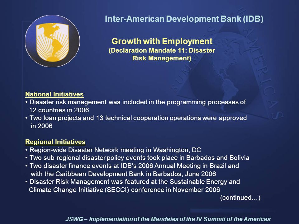 Inter-American Development Bank (IDB) Growth with Employment