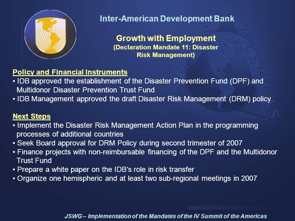 Inter-American Development Bank Growth with Employment