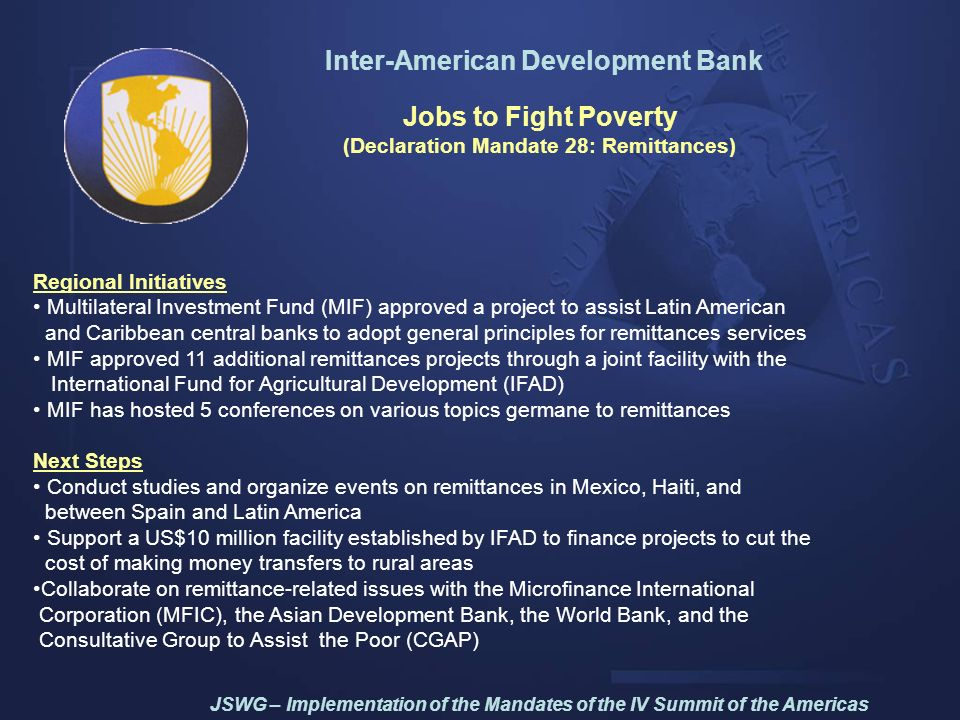 Inter-American Development Bank (Declaration Mandate 28: Remittances)