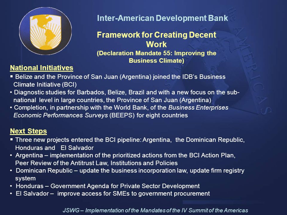 Inter-American Development Bank Framework for Creating Decent Work