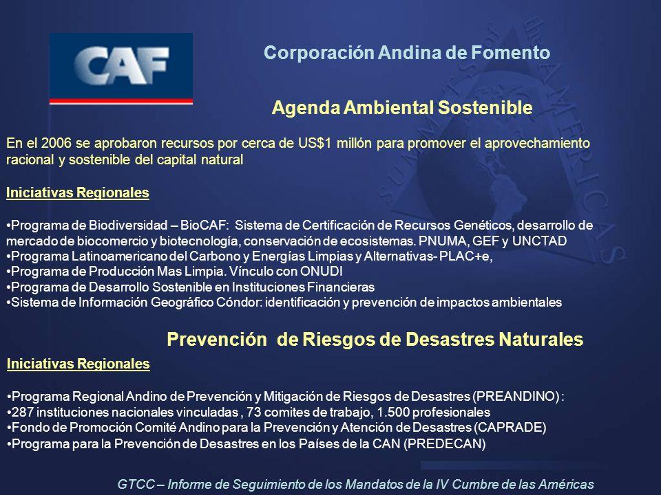 Corporación Andina de Fomento Agenda Ambiental Sostenible