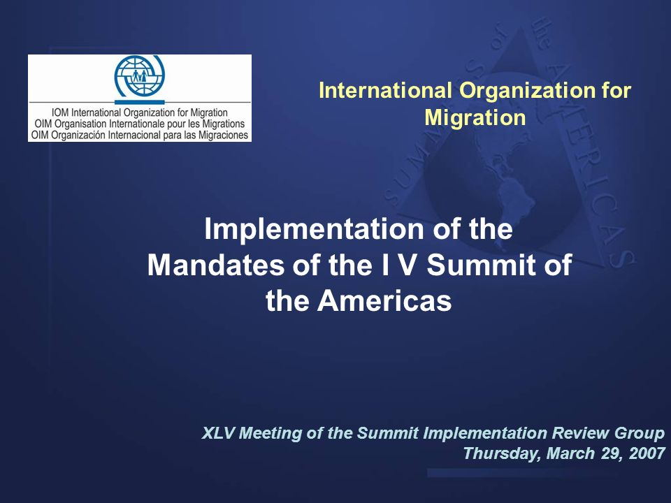 Implementation of the Mandates of the I V Summit of the Americas