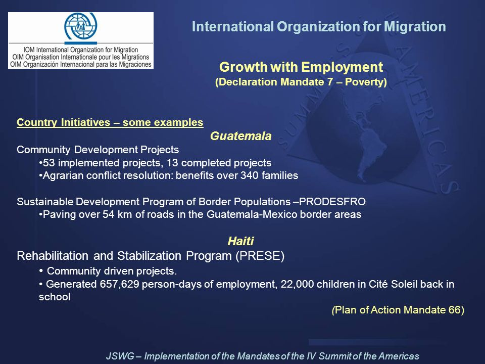International Organization for Migration Growth with Employment
