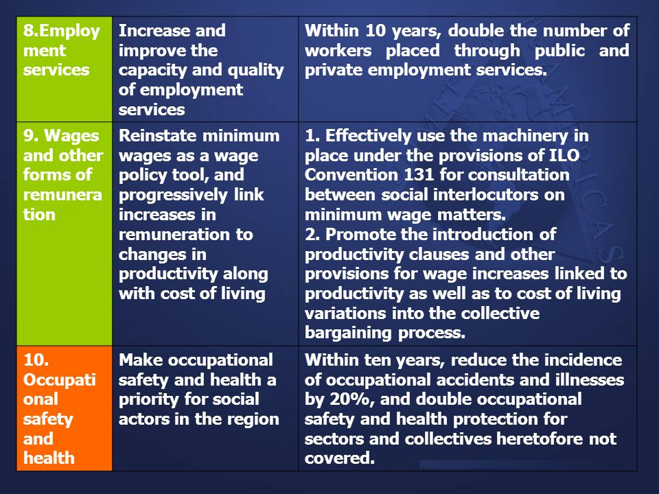 8.Employment servicesIncrease and improve the capacity and quality of employment services.
