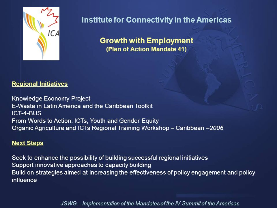 Institute for Connectivity in the Americas (Plan of Action Mandate 41)