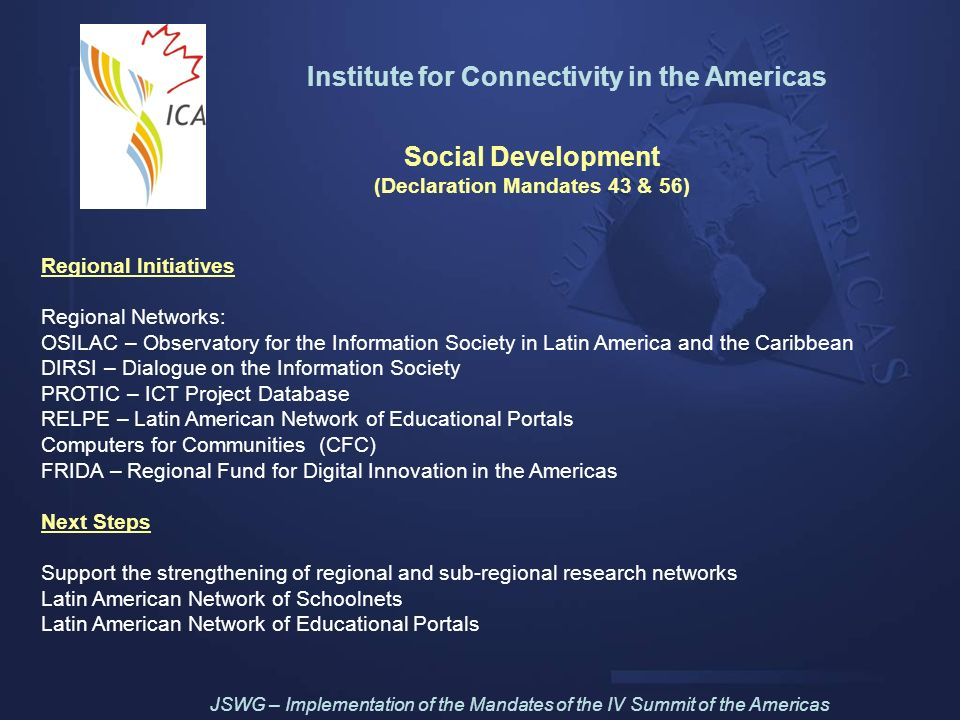 Institute for Connectivity in the Americas Social Development